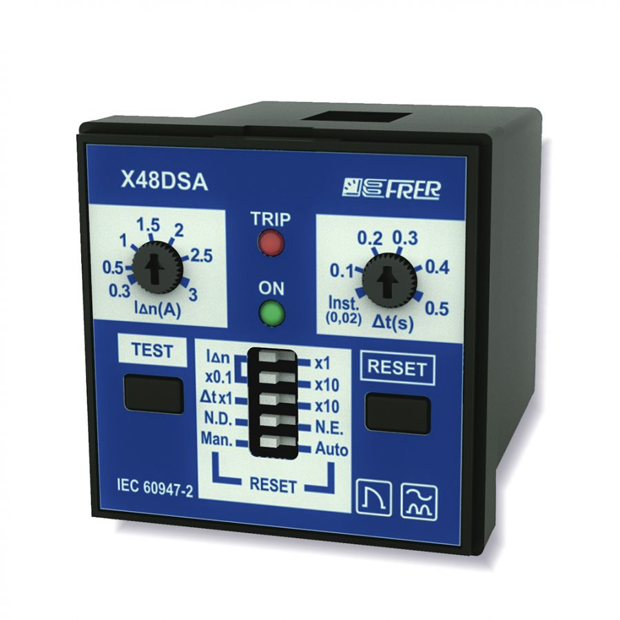 Ultra-compact Earth leakage relay 48x48mm